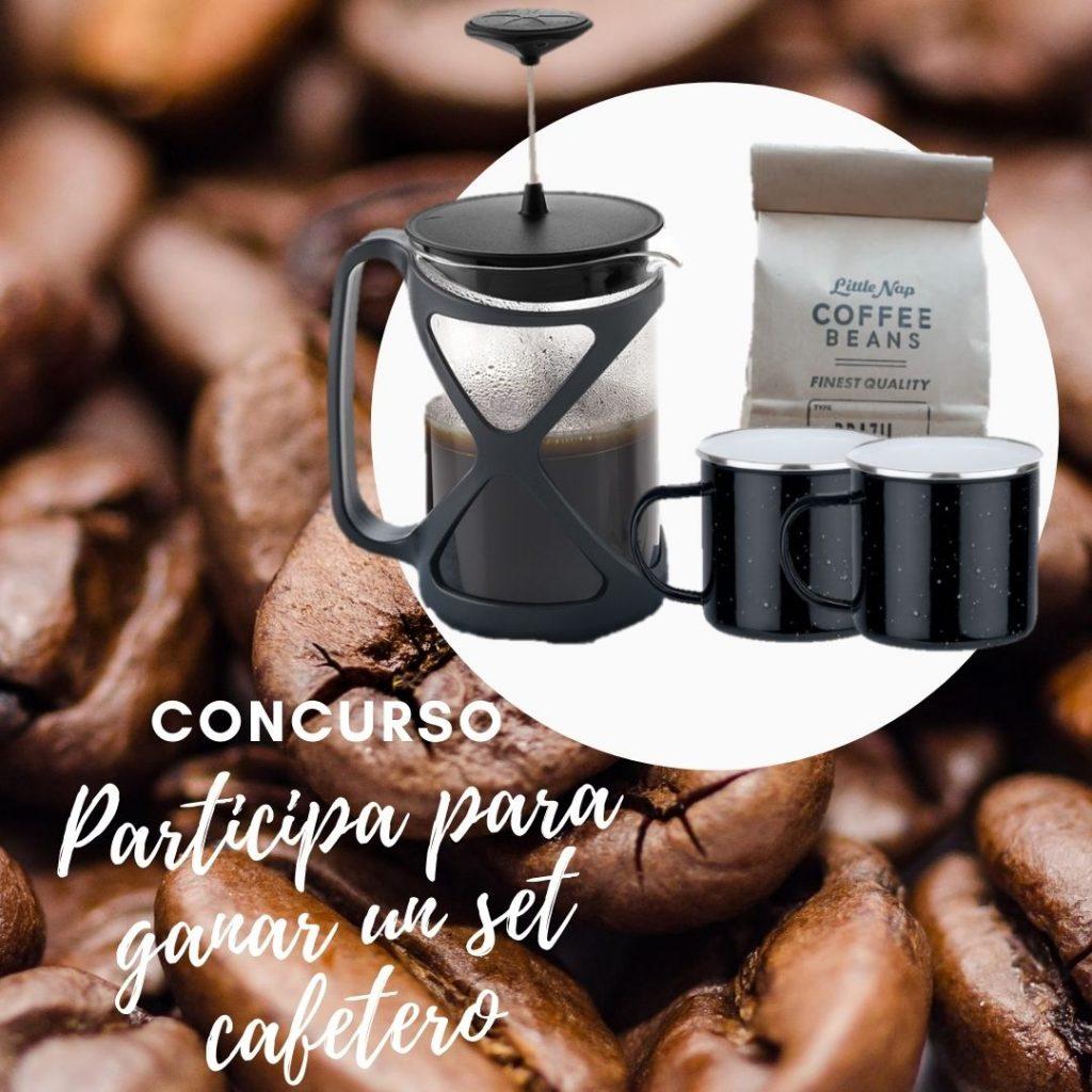 Giveaway de café. Cafetera promocional para giveaway para redes sociales