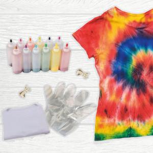 Kit de Tie Dye o kit de teñido con amarre para celebrar el día d elos niños. Regalos corporativos