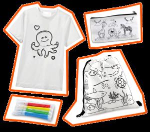Productos coloreables para niños. Camisetas y tulas con diseños personalizados para colorear.